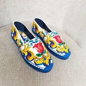 NIB Dolce & Gabbana Multi Color Floral Espadrilles